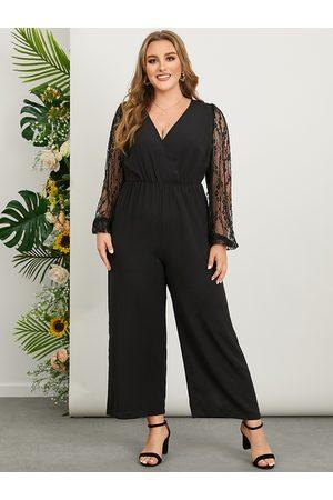 YOINS Plus Size V-neck Crossed Front Design Lace Patchwork Design Long Sleeves Jumpsuit