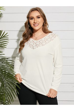 YOINS Plus Size V-neck Lace Patchwork Design Long Sleeves Tee