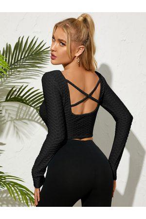 YOINS Backless Design Criss-Cross Long Sleeves Top