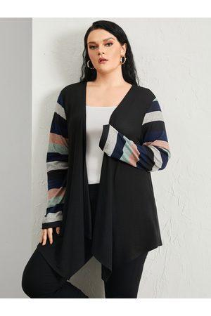 YOINS Plus Size Striped Patchwork Design Long Sleeves Cardigan