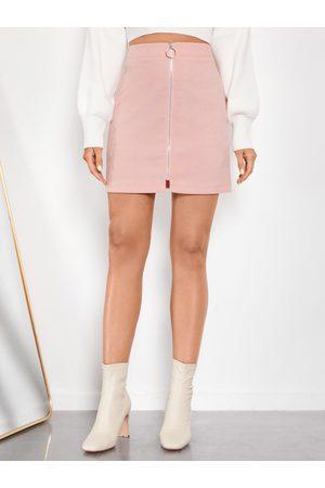 YOINS Corduroy Zip Front Mini Skirt