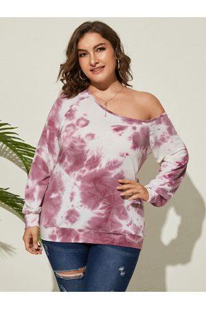 YOINS Plus Size One Shoulder Tie Dye Backless Design Long Sleeves Sweatshirt