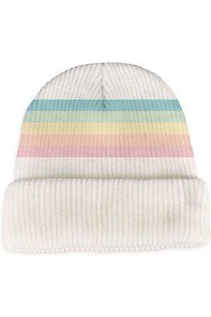 Tiny Whales Girl's Striped Rib-Knit Beanie Hat
