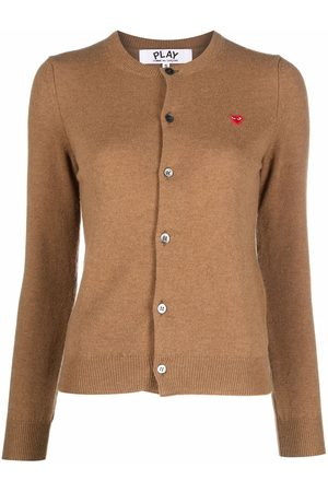 Comme des Garçons Logo-patch fine-knit cardigan