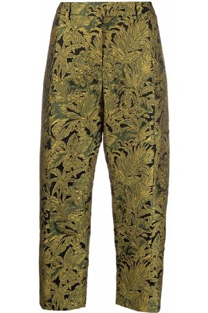 ALBERTO BIANI Cropped floral embroidered trousers