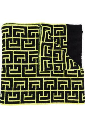 Balmain Monogram intarsia-knit scarf