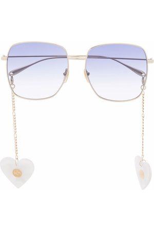 Gucci Heart pedant square-frame sunglasses
