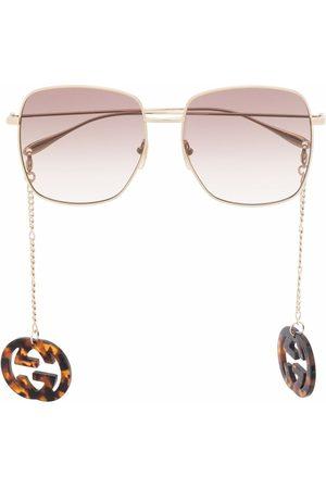 Gucci GG-pendant square-frame sunglasses
