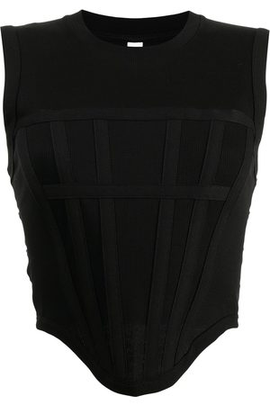 DION LEE Ribbed corset tank top