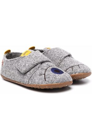 Camper Embroidered-logo touch-strap slippers