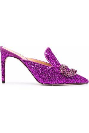 GIANNICO Glittered high-heel mules
