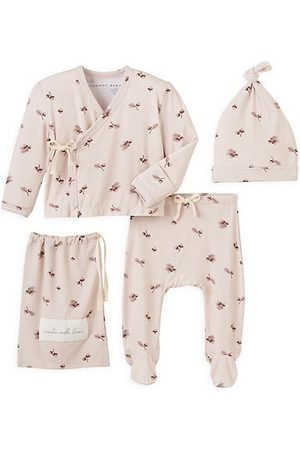 Elegant Baby Baby Girl's 3-Piece Acorn Print Beanie, Kimono, & Footie Set