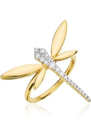 ANAPSARA Women's Small Dragonfly 18K Yellow Diamond Ring