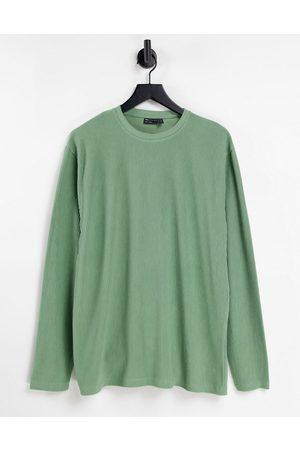 ASOS Oversized long sleeve t-shirt in heavy rib in khaki
