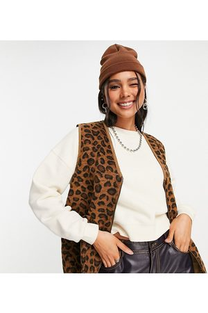 Native Youth Oversized gilet in brushed leopard print