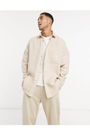 ASOS Men Casual - Extreme oversized wool mix check shacket in tonal with snap buttons-Neutral