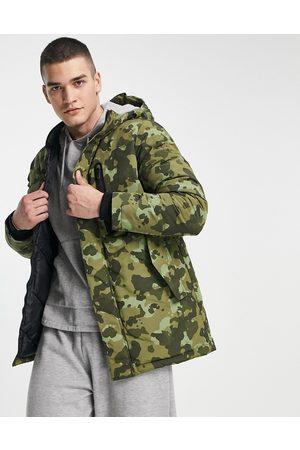 JACK & JONES Core camo parka jacket with hood in