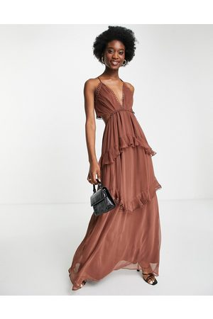 ASOS Cami maxi dress with open back and circle trim in chocolate