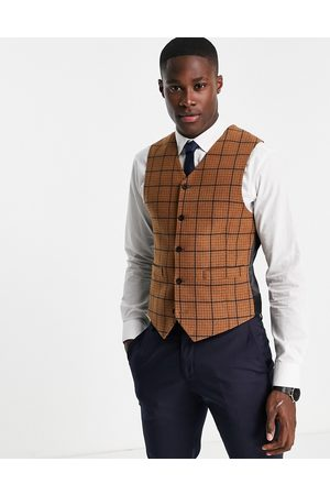 ASOS Country wedding skinny wool mix waistcoat in puppytooth check