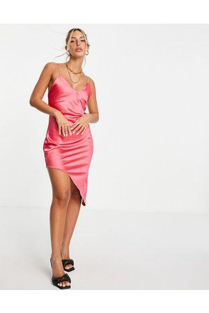 Flounce London Asymmetric satin midi slip dress in pink