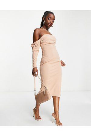 ASOS Women Pencil Dresses - Bardot drape pencil midi dress in mink-Neutral
