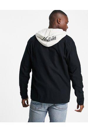 Hollister Logo sweat hood rayon twill overshirt in
