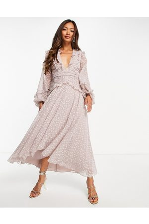 ASOS Pleat detail midi dress in jacquard satin spot with tie detail in lilac