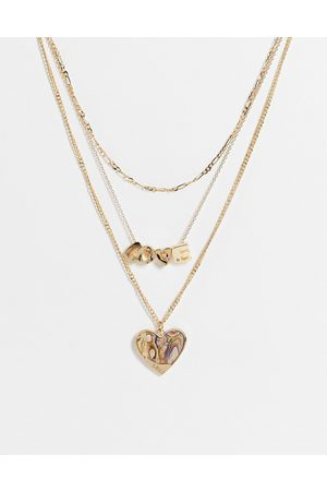 Glamorous Multirow necklace with love and faux heliotrope heart in
