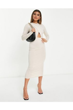 ASOS Long sleeved halter ruched midi dress in stone