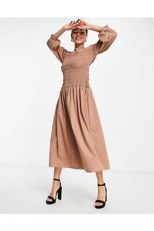 ASOS Shirred high neck midi dress in mocha