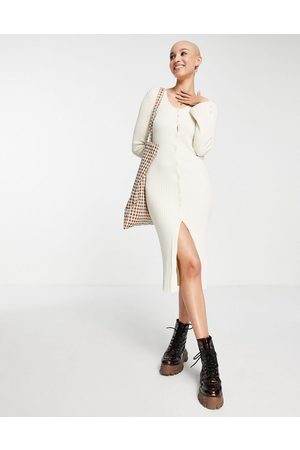 Monki Rib knit button through midi dress in off
