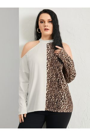 YOINS Plus Size Halter Leopard Cut Out Patchwork Long Sleeves Tee