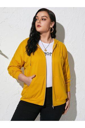 YOINS Women Long Sleeve - Plus Size Hooded Drawstring Zip Front Long Sleeves Sweatshirt