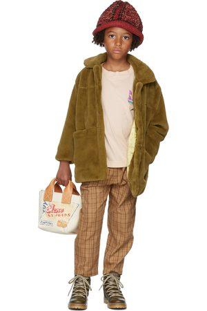 Repose AMS Kids Tan Check Chino Trousers