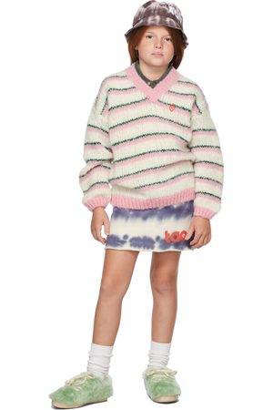 The Animal Observatory Kids White & Stripes Toucan Sweater