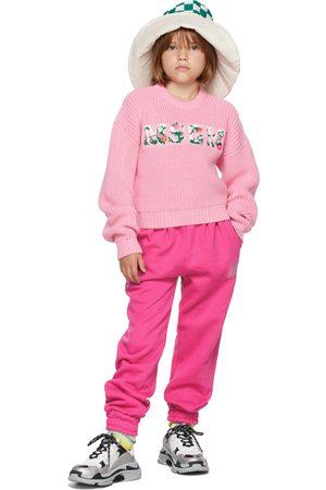 Msgm Jumpers - Kids Pink Floral Logo Sweater