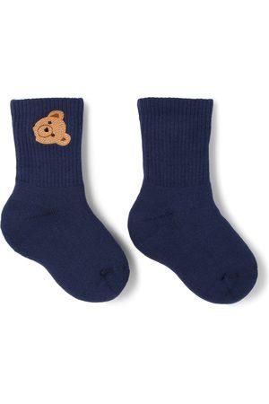 Palm Angels Kids Navy Mid-High Bear Socks