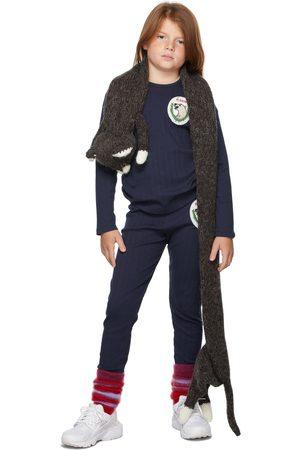Mini Rodini Long Sleeve - Kids Navy Polar Bear Patch Long Sleeve T-Shirt