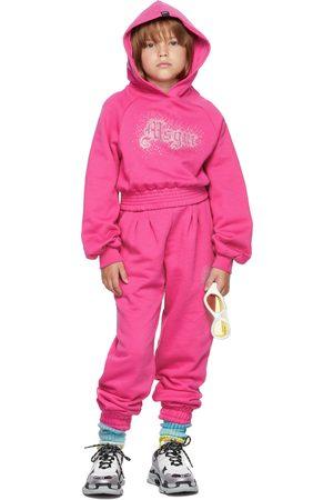 Msgm Hoodies - Kids Pink Rhinestone Logo Cropped Hoodie