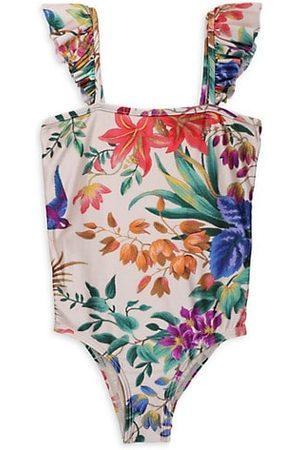 ZIMMERMANN Little Girl's & Girl's Tropicana Frill Shoulder One-Piece Swimsuit