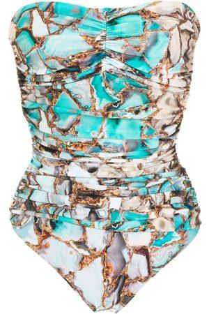 Lygia & Nanny Melissa marble-print swimsuit
