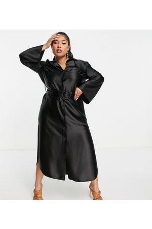 ASOS ASOS DESIGN Curve wide sleeve satin belted midi shirt dress in