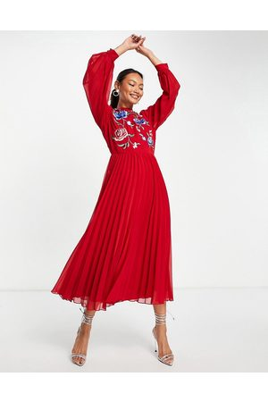 ASOS High neck pleated long sleeve skater midi dress with embroidery in deep