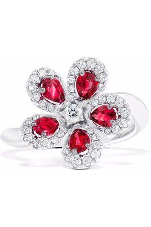 David Morris Women Rings - 18kt white gold Miss Daisy single flower ruby and diamond ring