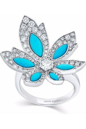 David Morris 18kt white gold Palm flower turquoise and diamond ring