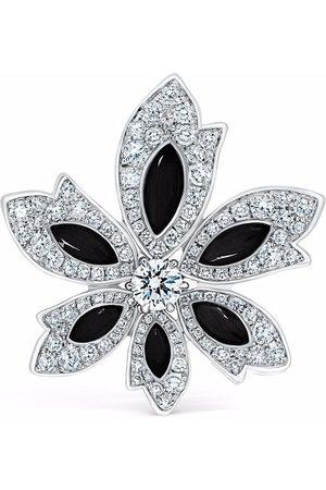 David Morris 18kt white gold Palm flower onyx and white diamond ring