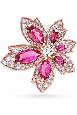 David Morris 18kt rose gold Palm flower rubellite and white diamond ring
