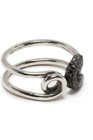 Ileana Makri 18kt white gold safety pin diamond ring