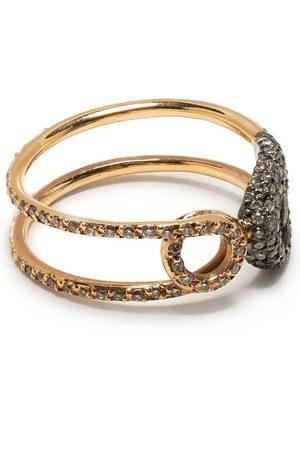 Ileana Makri 18kt rose gold diamond safety pin ring