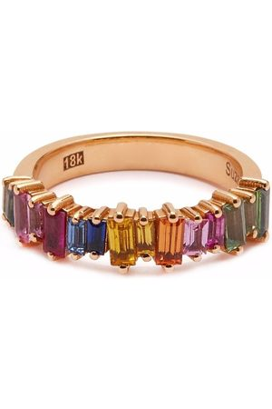 Suzanne Kalan 18kt rose gold Rainbow sapphire band ring